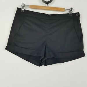 French Connection Women's Size 12 Black Short Cuffed Chino Shorts Side Pockets