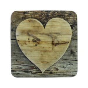 Mars-amp-More-6er-Set-Saucer-Cork-Heart-Wood-Luxury-Coaster-Glass-Lens