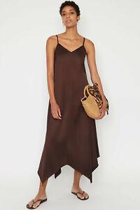Warehouse-New-in-Satin-Hanky-Hem-Cami-Maxi-Midi-Dress-in-Dark-Brown-Size-6-to-16