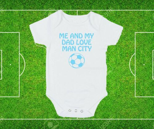 Manchester Dad Grandad Love City Baby Grow Bodysuit White Blue text football fan