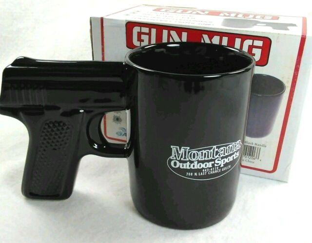 GUN PISTOL Grip Coffee Mug 16 oz NEW IN BOX  Montana Outdoor Sports Black