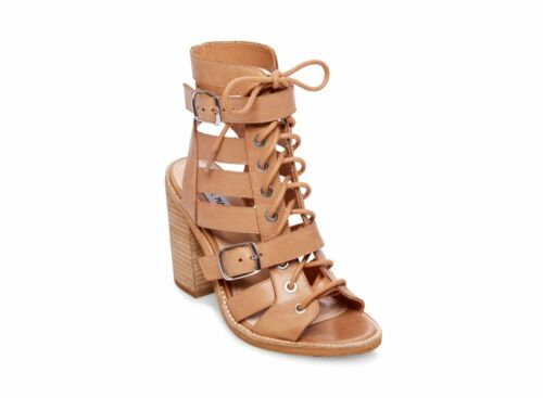Steve Madden CECILIA NATURAL LEATHER Women/'s Open Toe Strappy Block Heel Sandals