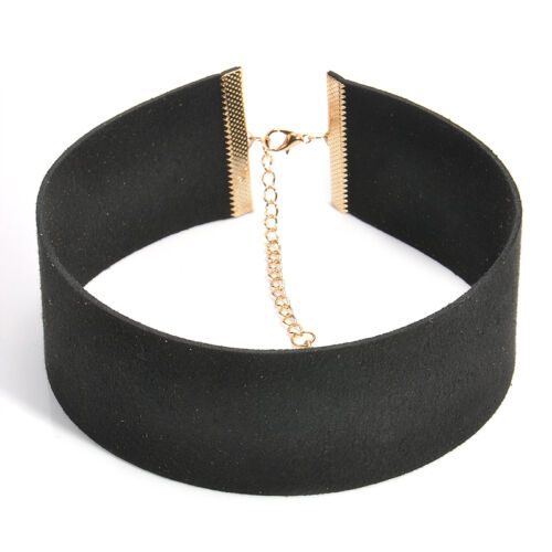 Women Leather Choker Gothic Punk Collar Necklace 4cm Neck Band Jewellery Gift