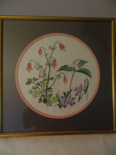 VINTAGE 1991 16 X 16 PRETTY FLORAL NEEDLEPOINT FRAMED EUC
