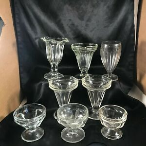 Lot of 8 Misc Clear Glass Ice Cream Parlor Sundae Float Glasses