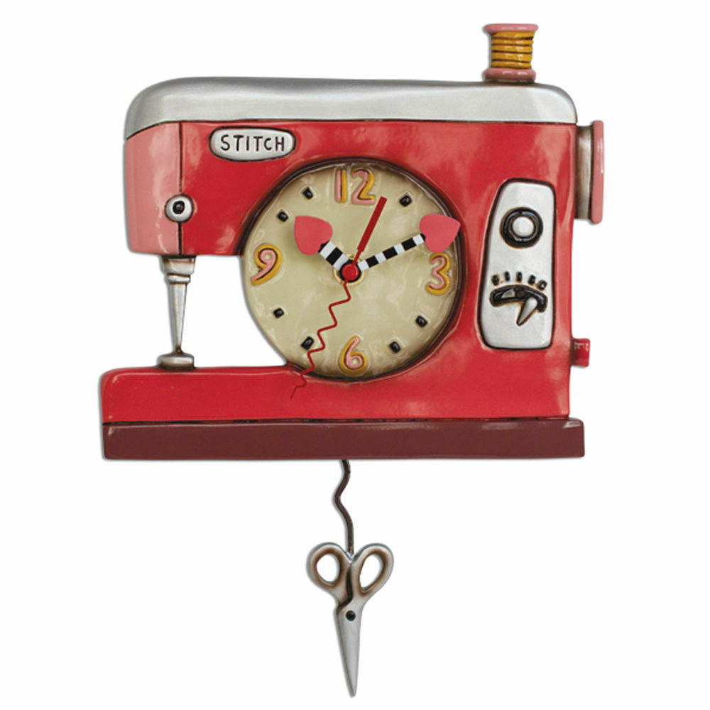 Allen Designs Double Stitch Sewing Machine Pendulum Wall Clock