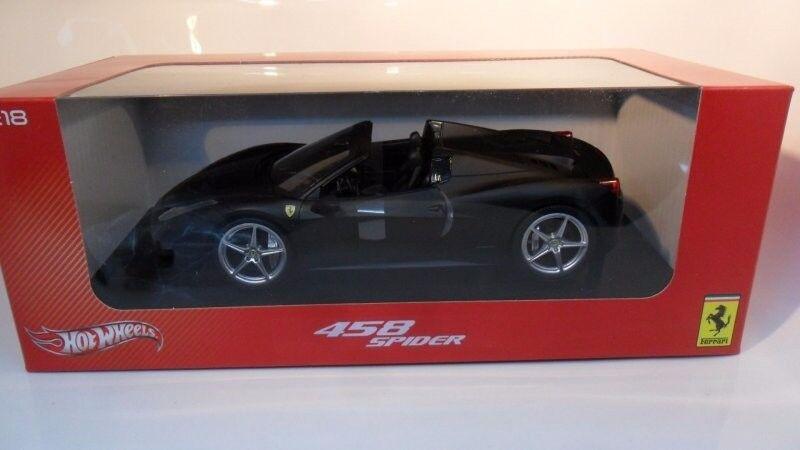 Ferrari 458 Spider - mattblack - HOT WHEELSMattel im Maßstab 1 18 (899763100)