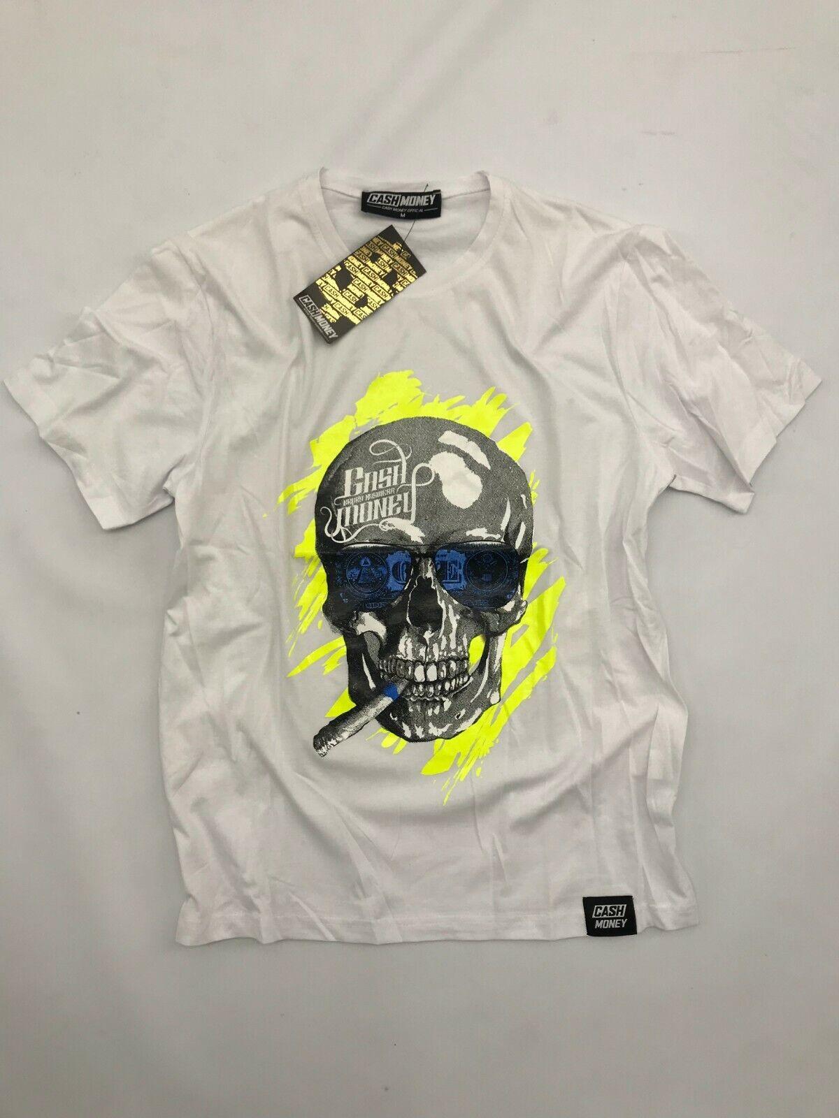 40181278 Cash Money Herren T-Shirt Skull Print Kurzarm Shirt weiss schwarz gelb