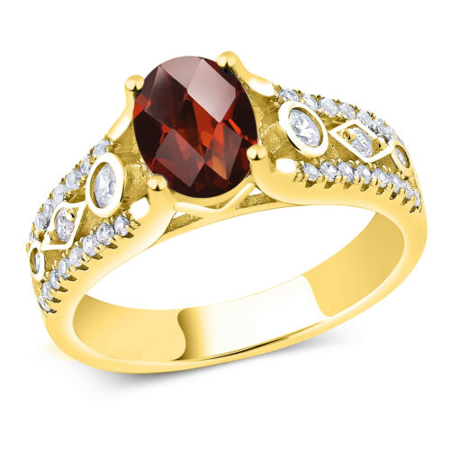 1.96 Ct Oval Checkerboard Red Garnet 18K Yellow Gold Plated Silver Ring