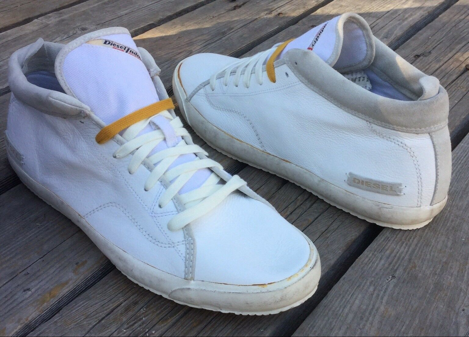 New Mens Diesel Midday Fashion Sneakers Sz 13 White Leather & Suede Casual Shoes
