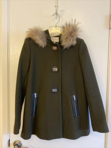 Sandro Paris Khaki Fur Trim Wool Coat Size 36