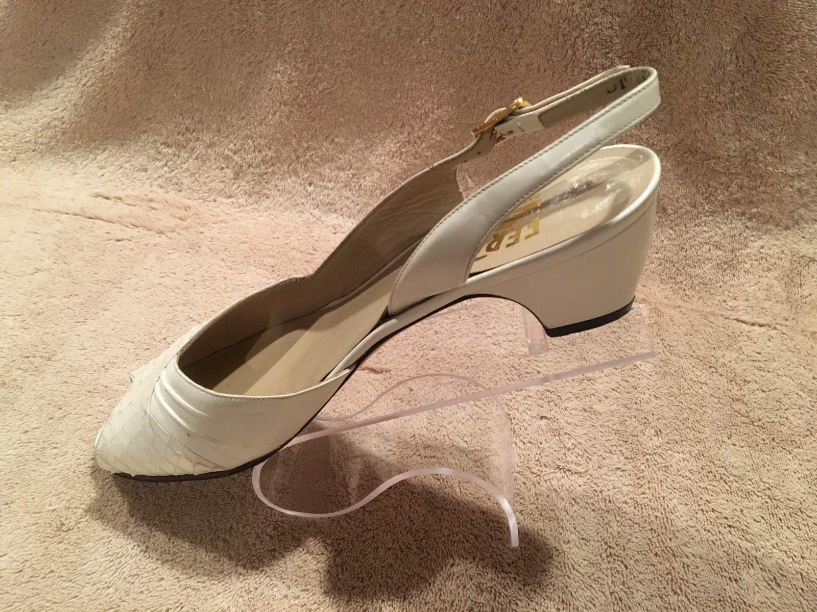 Salvatore Ferragamo damen Leather schuhe Pumps Weiß Made in  Größe 6.5AA