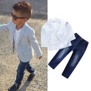 84e8bb7d7173 3pcs Baby Boy Kids Toddler Blazer Suit Coat+Shirt+Jeans Pants ...