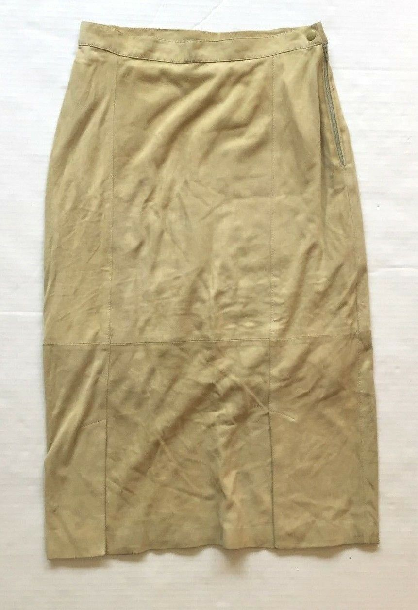 Women's Lt Beige Suede Straight Knee Length Fully Lined Cov'd Zipper Skirt