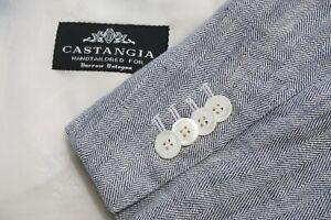 Castangia Gray Herringbone 100% Linen 1 Button Sport Coat Jacket Sz 44L