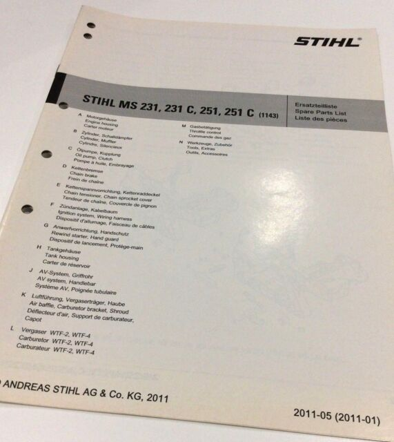 Genuine Stihl Chainsaw Ms 251 Ms 251 C Workshop Spares Parts List