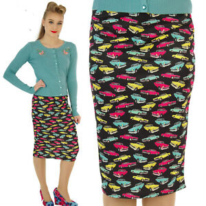 SCUBA-WIGGLE-PENCIL-SKIRT-CLASSIC-50-039-S-VINTAGE-CARS-ROCKABILLY-ALTERNATIVE