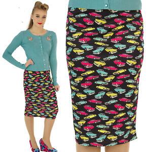 Scuba-Wiggle-lapiz-falda-clasico-anos-50-Vintage-Coches-Rockabilly-alternativa