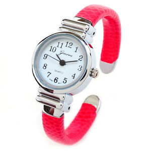 red silver snake style band small case geneva women 39 s bangle watch ebay