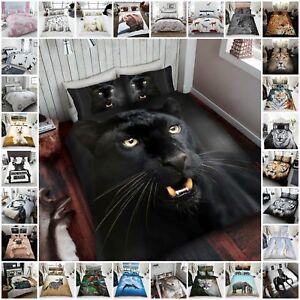 3D-Parure-de-lit-Animal-Imprime-Assorti-Taies-d-039-Oreiller-Simple-Double-King
