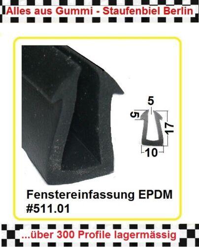 3m Scheibengummi € 10,05//m Fensterdichtung U-Profil 511.01 aus BERLIN