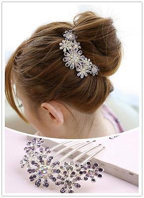 YO US Women Beauty Crystal Rhinestone Petal Tuck Comb Flower Hair Pin Hair Clip