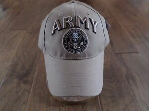 21a9ba97f Image is loading U-S-MILITARY-COYOTE-BROWN-ARMY-HAT-EMBROIDERED-RAISED-