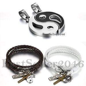 Vintage-Ying-Yang-Taiji-Bagua-Halskette-geflochtenes-Leder-Paar-Armband-4pcs