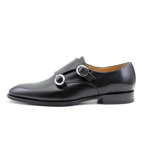 Men/'s oxford monk strap black leather shoes handmade Italian GIORGIO REA 7931NE