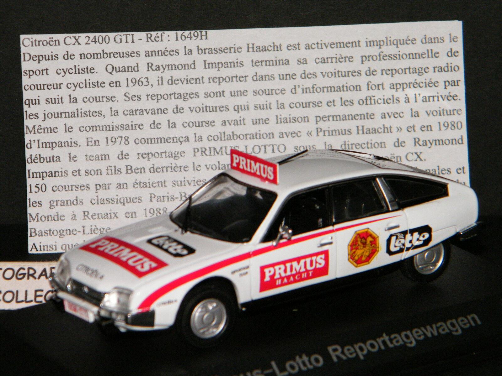 Senza tasse CITROEN CX 2400 GTI PRIMUS-LOTTO REPORTAGEWAGEN HAACHT HAACHT HAACHT - UNIVERSAL HOBBIES 1 43è  vendita calda