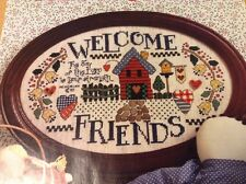 Welcome Friends counted cross stitch magazine pattern, fabric & floss lot