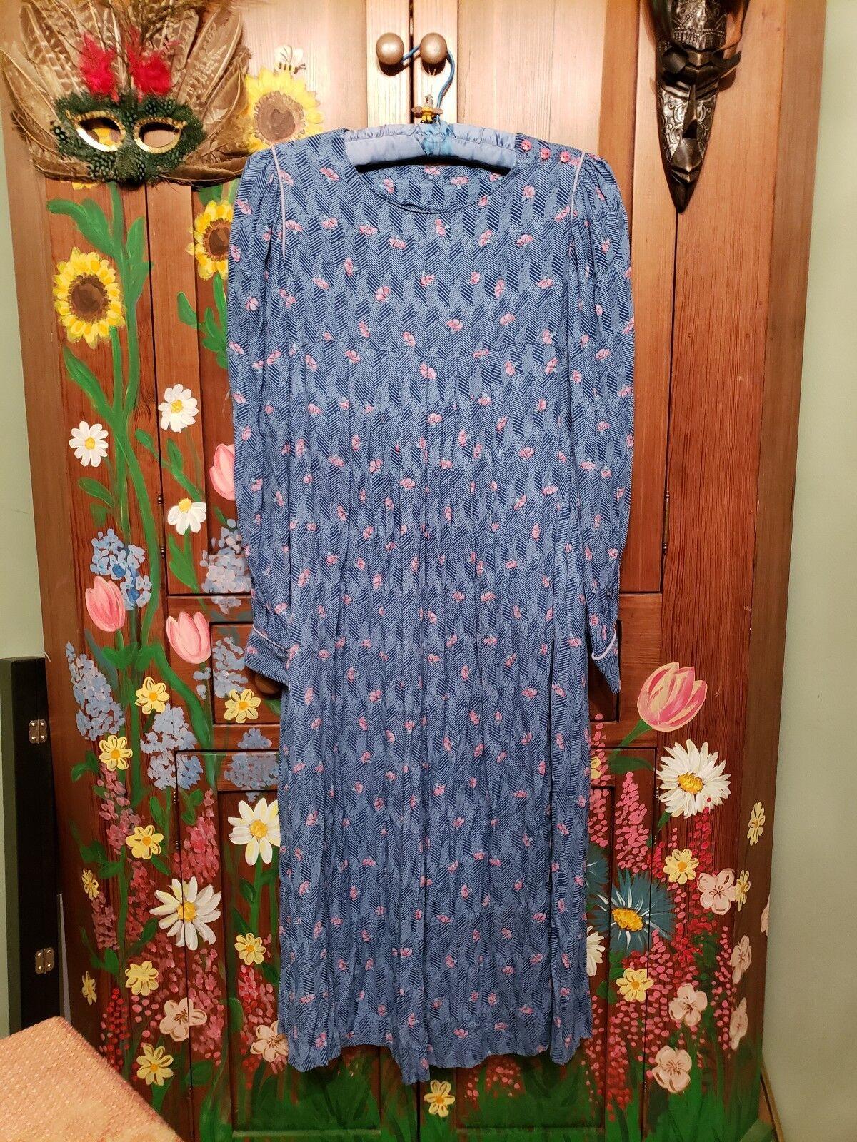 VINTAGE Floral Print Dress JANE SCHAFFHAUSEN bluee Pink SIZE
