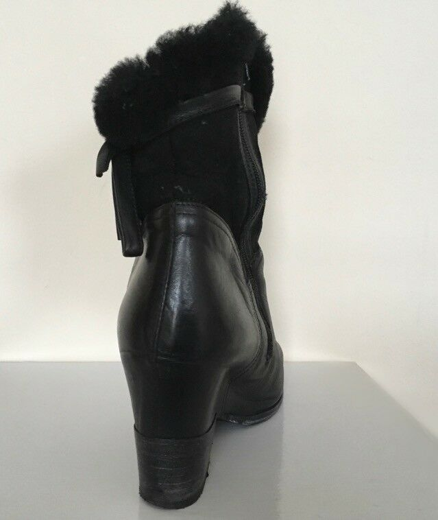 Cheville Doux Bottes en cuir fabriqué en Italie noir noir noir EUR 40 UK 7 TALONS COMPENSES talons Handmade b43e0a