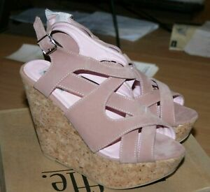 """LADIES WHITE FAUX SUEDE 6/"""" FAUX CORK WEDGE HEEL STRAPPY SANDAL SIZE 5"""