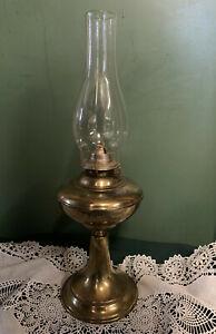 Vintage-Tall-Brass-Plated-Pedestal-Oil-Lamp-w-Eagle-Burner-amp-Glass-Chimney