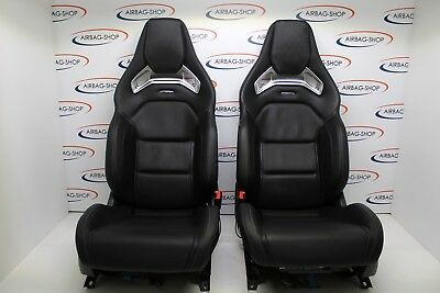 mercedes amg performance seats a45 cla 45 bucket seats black leather w176 recaro ebay. Black Bedroom Furniture Sets. Home Design Ideas