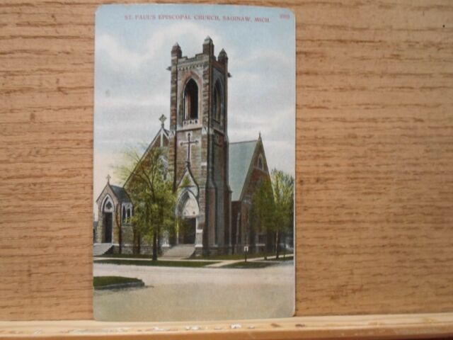 Saginaw Mi Mich Michigan, St Paul's Episcopal Church, early postcard