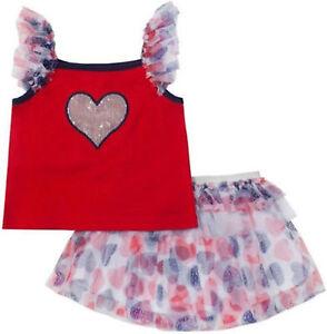 fa8ccdb2c17 Little Lass 2pc Patriotic 4th of July Sequin Heart Tulle Tutu Skirtt ...