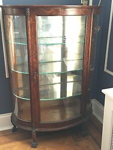 Antique Tiger Oak Curio Cabinet Curved Glass Mirrored Back