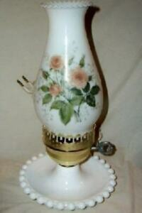 Vintage-Milk-Glass-Roses-Boudoir-Lamp-Hurricane-Candlewick-Chic-Cottage-Shabby