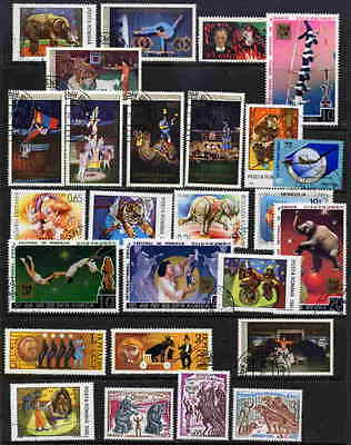 FANTASTIC CIRCUS ON POSTAGE STAMPS - 25 DIFFERENT - NO DUPLICATES!