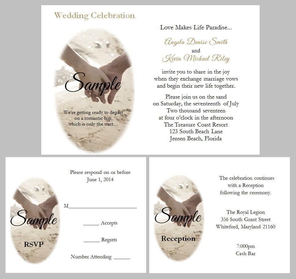 100 Personalized Beach Hands Sand Tropical Destination Wedding Invitations Set