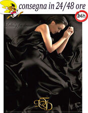 Completo Matrimoniale Maxi 180 Raso Lucido Nero Copripiumino Lenzuola Nere Sexy