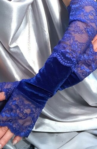 Madame Fantasy XX Long Velour Fingerless Gloves Lace Cuffs Royal Blue