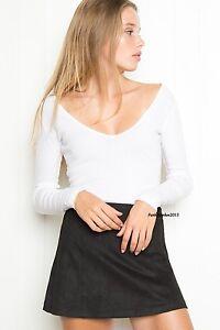 NEW-brandy-melville-white-cropped-long-sleeve-v-neck-blake-top-NWT-S-M