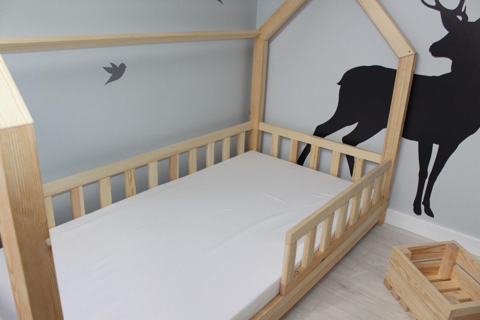 Kinderbett Kinderhaus Bett für Kinder BETT HOLZ Sicherheitsbarrieren Schublade