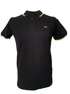 Warrior-UK-England-Pique-Polo-Shirt-Black-Yellow-Slim-Fit-Skinhead-Mod-Retro