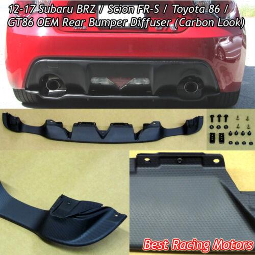 Carbon Look Fits 12-19 Subaru BRZ Factory Style Rear Bumper Diffuser
