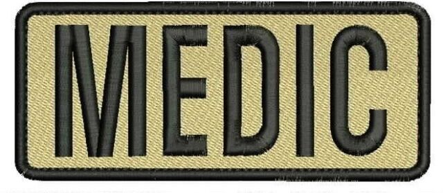 MEDIC Embroidery Patches 2x4 hook Tan