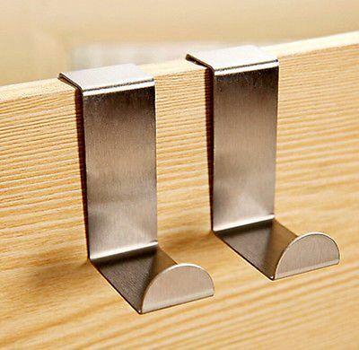 Over Door Hook Stainless Kitchen Cabinet Clothes Hanger Organizer Holder EXSU